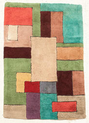 Modernist Mondrian-style Hooked Rug