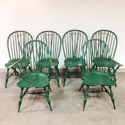 Six Green-painted L.E. Partridge Braced-back Windsor Chairs