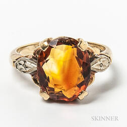 14kt Gold, Topaz, and Diamond Ring