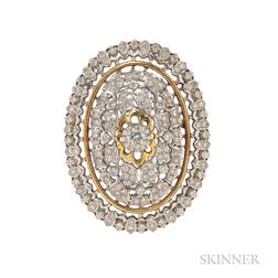 18kt Bicolor Gold and Diamond Pendant/Brooch