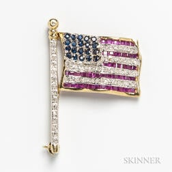 14kt Gold, Ruby, Diamond, and Sapphire American Flag Brooch