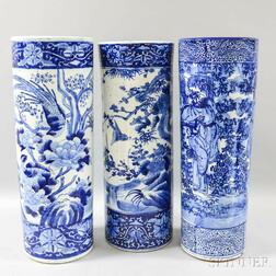 Three Chinese Export Blue and White Umbrella Stands