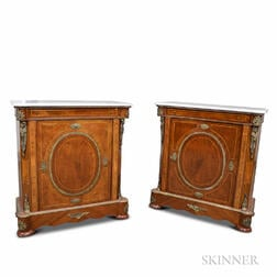 Pair of Louis XVI-style Ormolu-mounted Inlaid Walnut Marble-top Cabinets