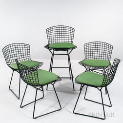 Four Bertoia-style Chairs and a High Stool