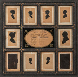Frame with Eight Silhouettes of the Gould Family of Hollis, New Hampshire