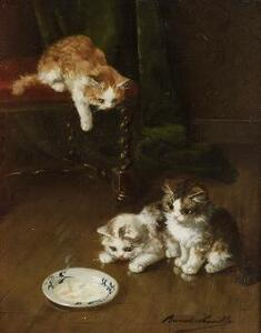 Alfred Arthur Brunel de Neuville (French, ac. 1879-1907)  The Milk Saucer