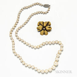 14kt Gold and Diamond Floral Brooch and Cultured Pearl Necklace