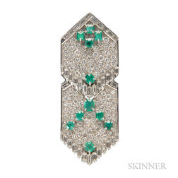 18kt White Gold, Emerald, and Diamond Pendant/Brooch