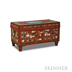 Chinese Export Polychrome-painted Brass-bound Leather and Camphorwood Trunk