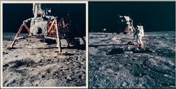Apollo 11, Astronaut Edwin E. Aldrin Jr. Standing Between Split Rock and the Seismometer and View South Behind the Lunar Module (...