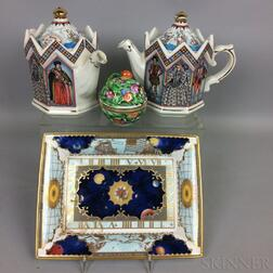 Pair of Staffordshire Ceramic Teapots, a Royal Worcester Tray, and a Herend Box.     Estimate $200-250