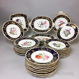 Set of Thirty Floral-decorated Cobalt and Gilt Porcelain Dishes.     Estimate $300-500