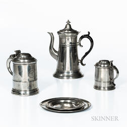 Five Pewter Table Items
