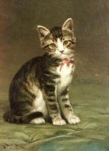 John Henry Dolph (American, 1835-1903)  Brown Tabby Kitten with a Rose Bow