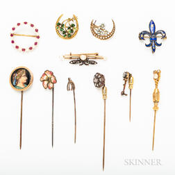 Group of Gold and Sterling Silver Brooches and Stickpins