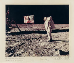 Aldrin, Buzz (b. 1930) Neil Armstrong (1930-2012), and Michael Collins (b. 1930) Apollo 11: Buzz Aldrin and the U.S. Flag on the Moon.