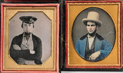 Two Cased Tinted Sixth-plate Daguerreotypes