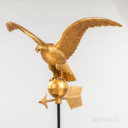 Gilt Molded Copper Spreadwing Eagle Weathervane
