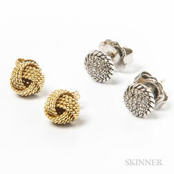 Tiffany & Co. 18kt Gold Knot Earstuds and David Yurman Sterling Silver and Diamond Earstuds