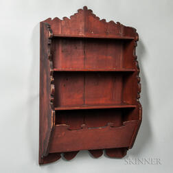 Shaped Red-painted Wall Shelf
