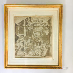 Early Framed Continental Ink Wash Image of the Adoration of the Shepherds