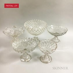 Eighteen Sandwich Colorless Pressed Glass Compotes.     Estimate $300-500
