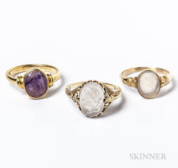 Three Gold and Intaglio Rings