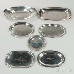 Six Sterling Silver Trophy Plates