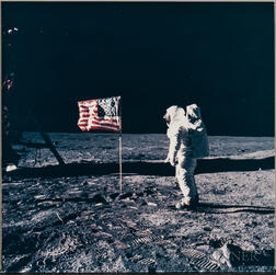 Apollo 11, Astronaut Edwin E. Aldrin Jr. Poses for a Photograph Beside the United States Flag During the Extravehicular Activity...