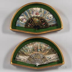 Two Framed Carved, Painted, and Gilt Fans