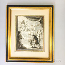 Early Framed Ink and Wash Image of the Virgin and Child Appearing to Supplicants