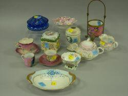 Fourteen Pieces of Assorted Decorated Porcelain and Glass Table Items.