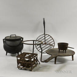 Six Wrought and Cast Iron Hearth Items