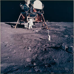Apollo 11, Astronaut Edwin E. Aldrin Jr. Prepares to Deploy the Early Apollo Scientific Experiments Package (EASEP) on the Surfac...