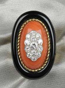 18kt Gold, Coral, Onyx, and Diamond Ring
