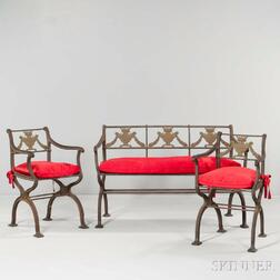 Three-piece Neoclassical-style Iron Garden Suite