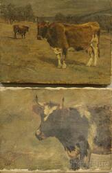 Charles Franklin Pierce (American, 1844-1920)      Two Works: Head of a Cow