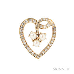 Antique Diamond and Pearl Pendant/Brooch