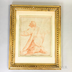 Framed Early Red Chalk Sketch of a Kneeling Saint