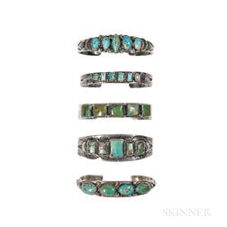 Five Navajo Silver and Multi-Stone Turquoise Bracelets