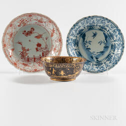 Two Export Porcelain Dishes and a Bowl