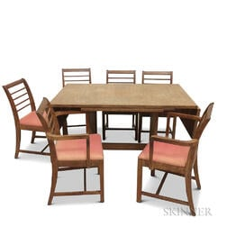 Gilbert Rohde Oak Dining Table and Six Chairs.     Estimate $20-200
