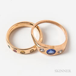 14kt Gold and Colored Gemstone Ring and a Low-karat Gold, Diamond, and Tanzanite Ring