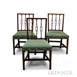 Set of Three Federal Inlaid Mahogany Square-back Side Chairs