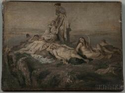 School of Thomas Couture (French, 1815-1879)      Classical Nudes Resting Atop a Cliff