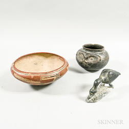 Two Pottery Bowls and a Carved Soapstone Goose.     Estimate $20-200