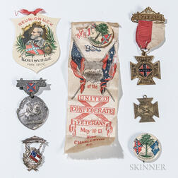 Four Confederate Veteran's Medals and Two Ribbons
