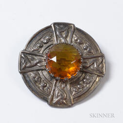 Scottish Silver and Citrine Brooch.