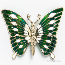 14kt Gold, Enameled, Plique-a-jour, and Diamond Articulated Butterfly Brooch