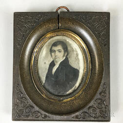 Framed Portrait Miniature En Grisaille of a Man
